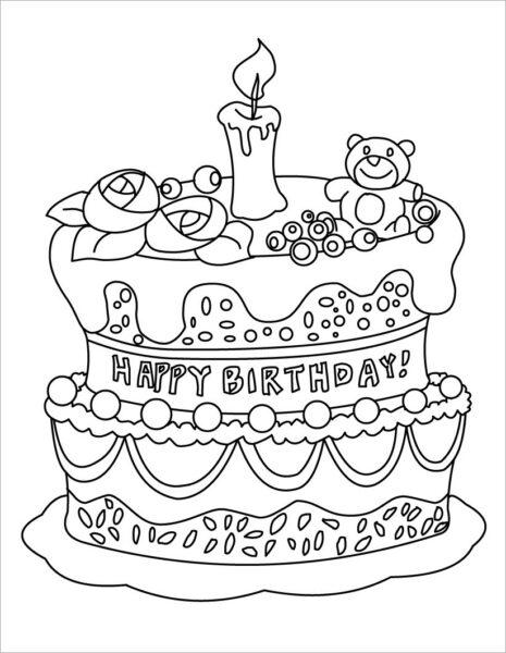 Tranh vẽ đen trắng bánh sinh nhật cho bé tô màu