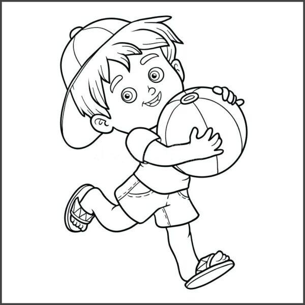 Tranh vẽ đen trắng em bé ôm bóng chạy cho bé trai