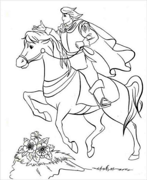 Tranh vẽ đen trắng hoàng tử cưỡi ngựa cho bé trai