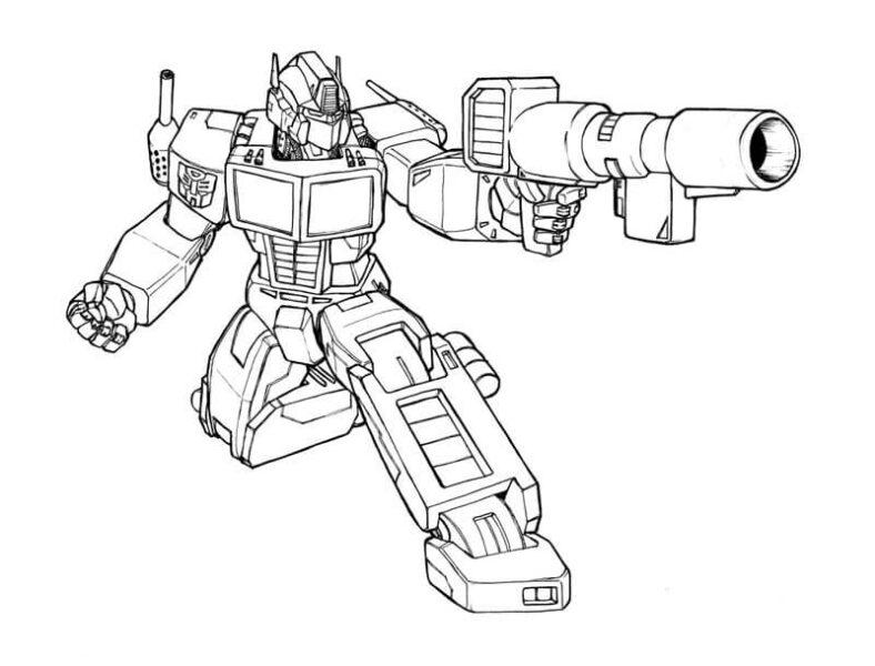 Tranh vẽ đen trắng robot người cho bé trai