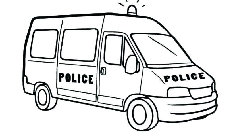 Tranh vẽ đen trắng xe cảnh sát cho bé tập tô