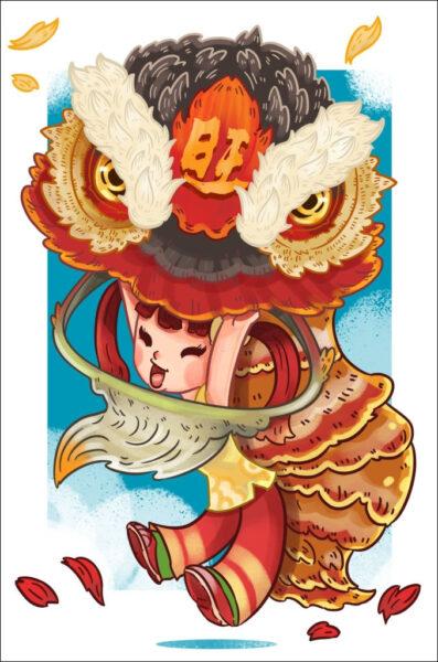 tranh vẽ hình ảnh múa lân siêu đáng yêu