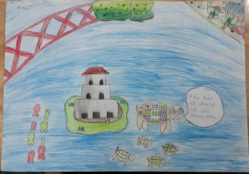 tranh vẽ hồ Gươm của học sinh