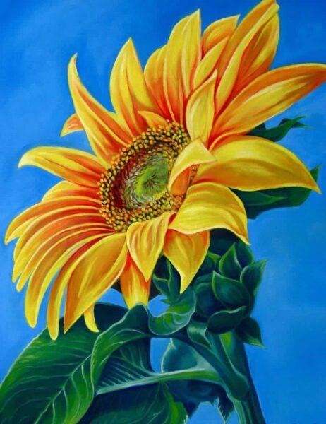 tranh vẽ hoa hướng dương hướng về mặt trời