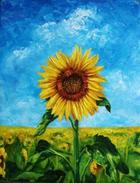 tranh vẽ hoa hướng dương và bầu trời xanh