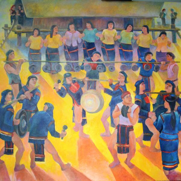 tranh vẽ lễ hội ở tây nguyên