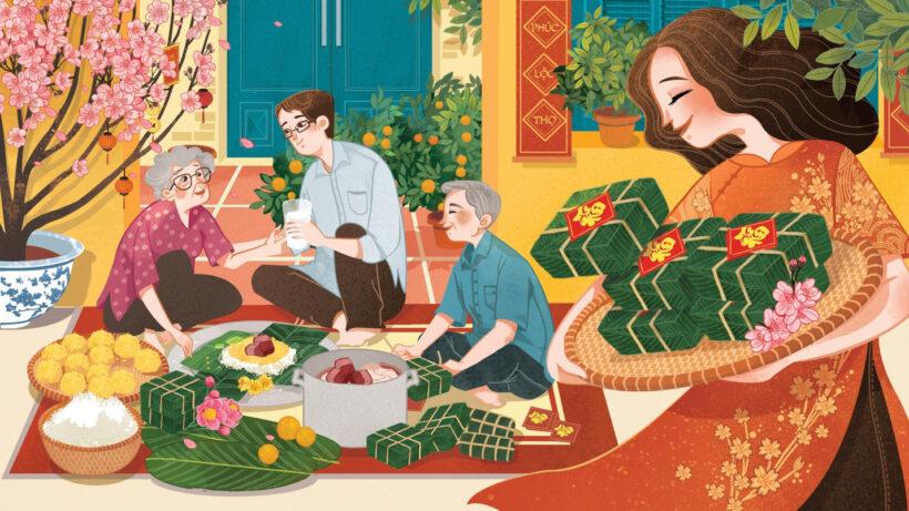 tranh vẽ mùa xuân với hoạt động gói bánh chưng ngày tết