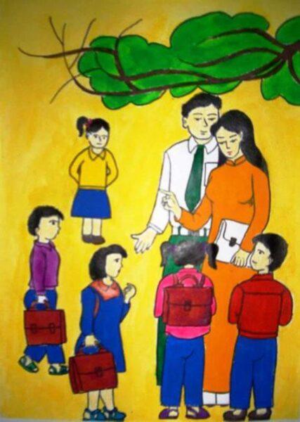 tranh vẽ thầy cô và học sinh