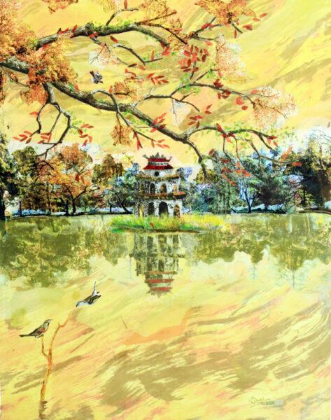 tranh vẽ về hồ gươm mùa xuân