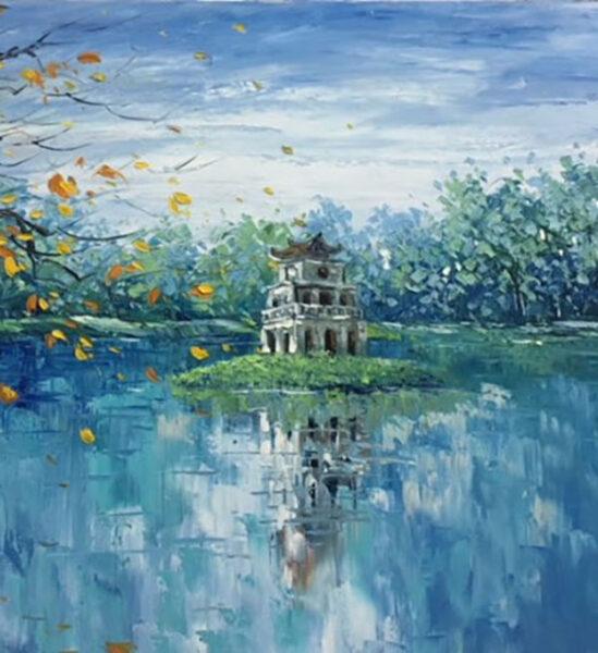 tranh vẽ về hồ gươm và lá vàng bay