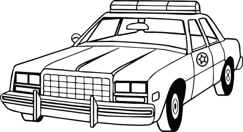 Tranh vẽ xe cảnh sát cho bé tập tô