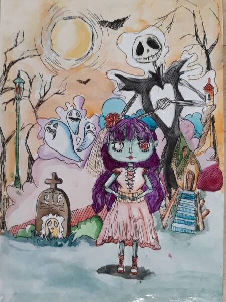 vẽ tranh đề tài halloween của bé