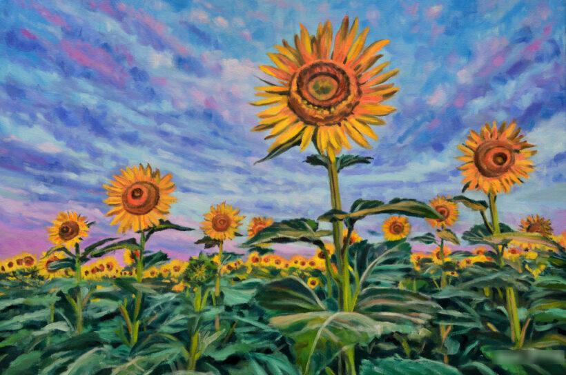 vẽ tranh đề tài hoa hướng dương chất liệu màu nước