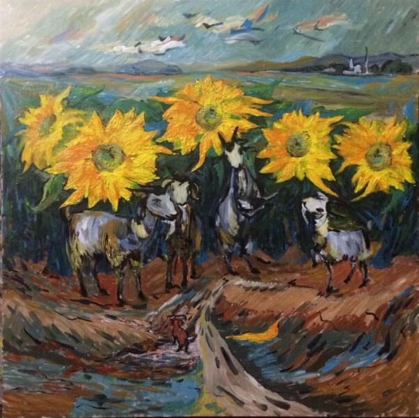 vẽ tranh đề tài hoa hướng dương và con dê