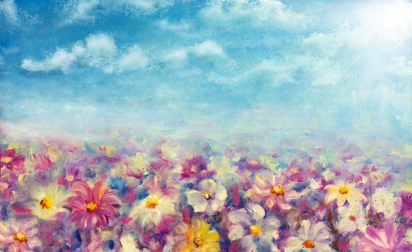 tranh vẽ đề tài hoa mùa xuân