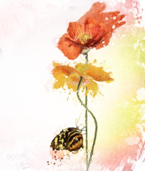 vẽ tranh đề tài mùa xuân hoa và bướm