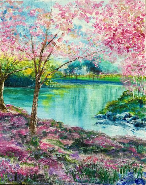 vẽ tranh đề tài phong cảnh mùa xuân