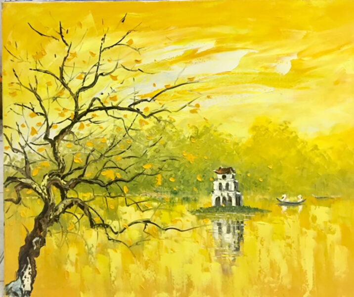 vẽ tranh hồ gươm bằng chất liệu sơn dầu