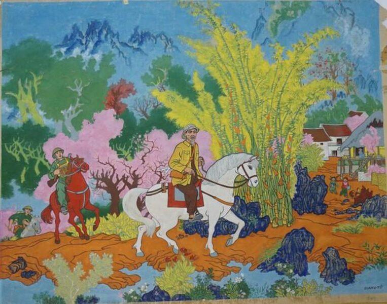 vẽ tranh về Bác Hồ đang cưỡi ngựa