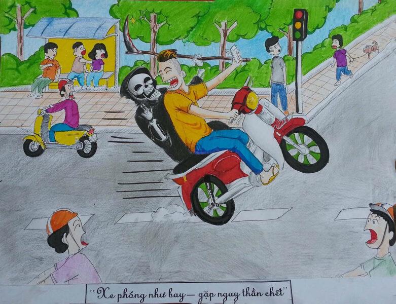 vẽ tranh về đề tài an toàn giao thông sáng tạo