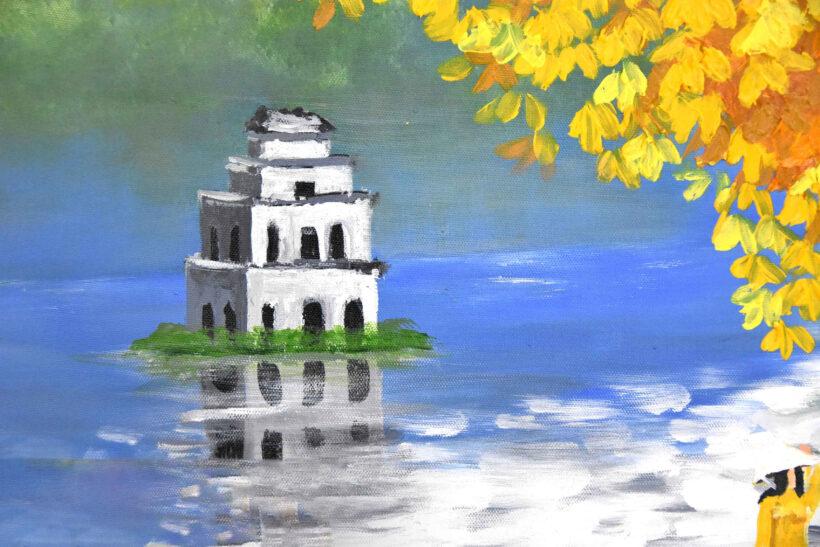 vẽ tranh về hồ Gươm mùa thu
