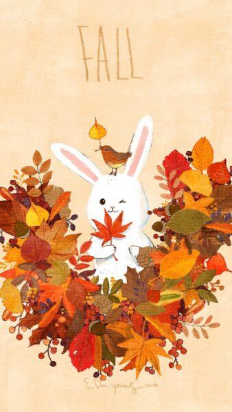 ảnh thỏ và lá vàng mùa thu