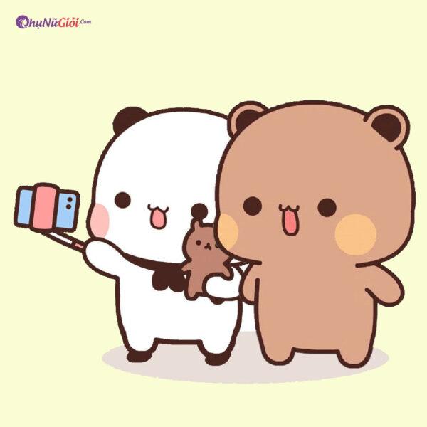 ảnh vẽ bé mèo bé gấu cute đơn giản