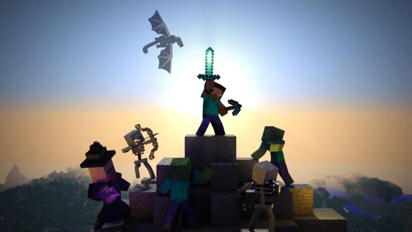 hình ảnh chiến đấu minecraft 3d