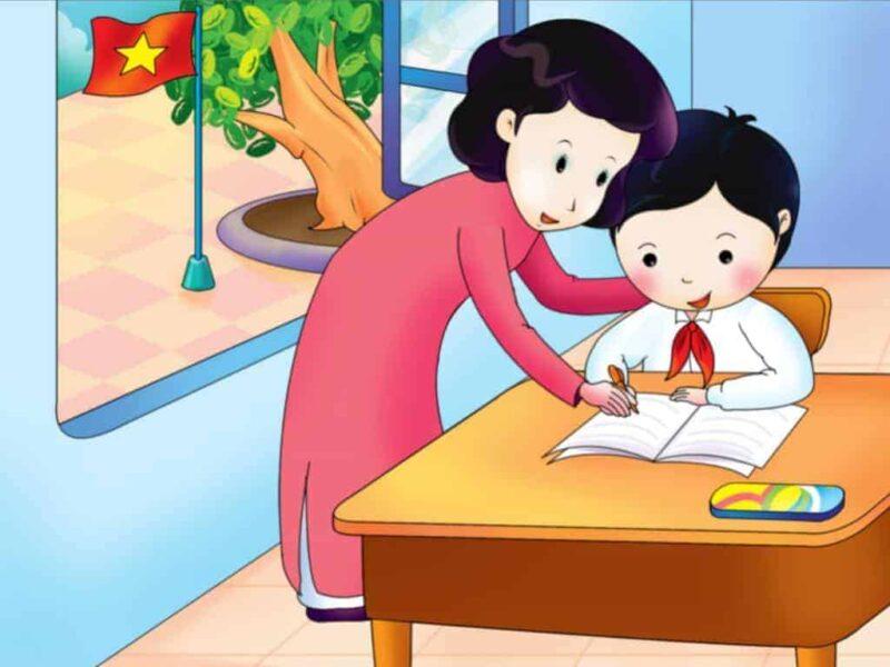 hình ảnh cô giáo và học sinh tranh vẽ dễ thương