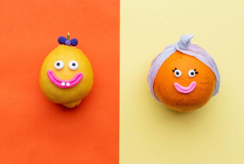 hình ảnh cười đau bụng của quả chanh và cam