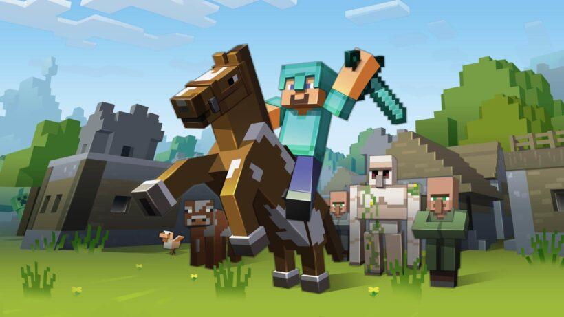 hình ảnh cưỡi ngựa chiến đấu minecraft 3d