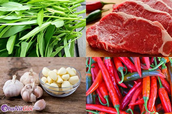 nguyên liệu làm nộm rau muống thịt bò