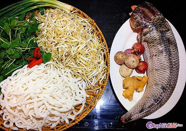 nguyên liệu nấu bánh canh cá lóc