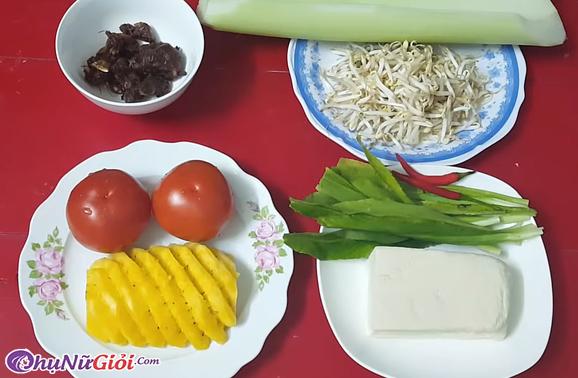 Nguyên liệu nấu canh chua chay