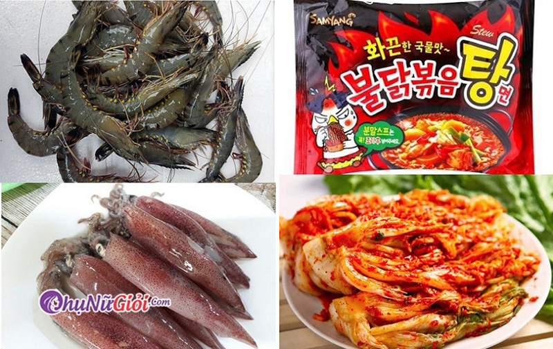 Nguyên liệu nấu mỳ cay hải sản
