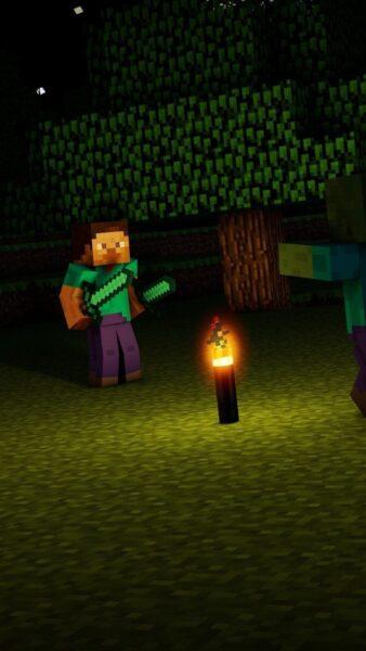 nhân vật minecraft trong đêm
