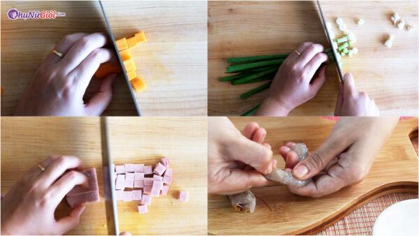 sơ chế cơm chiên dương châu thơm ngon
