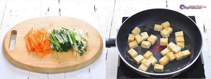 Sơ chế làm đậu hũ xào giá