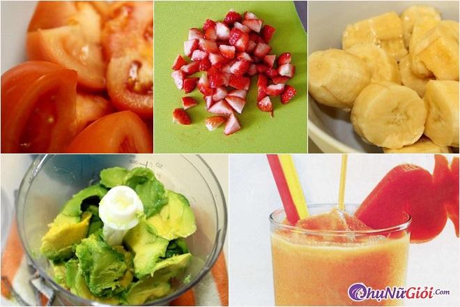 Sơ chế làm sinh tố cà chua, chuối, bơ và dâu