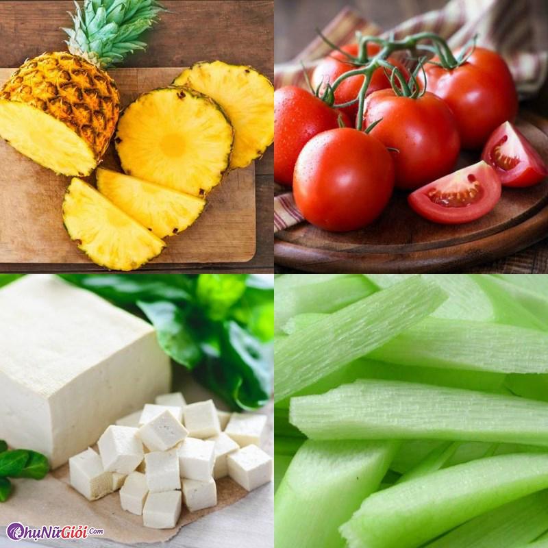 Sơ chế nguyên liệu nấu canh chua chay