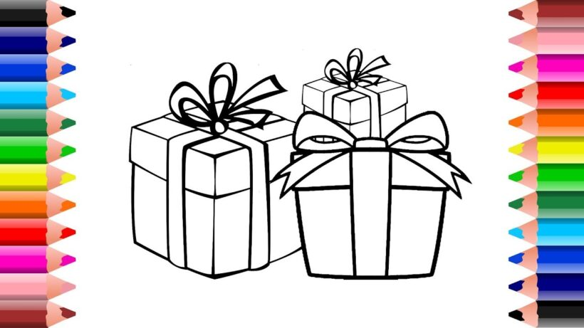 Tranh tô màu ba hộp quà