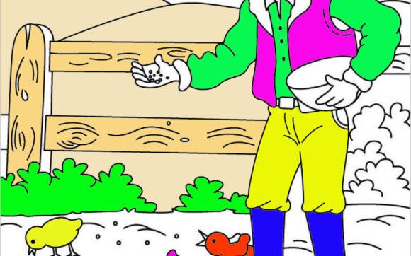 Tranh tô màu bác nông dân đang cho gà ăn
