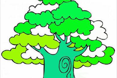 Tranh tô màu cây xanh