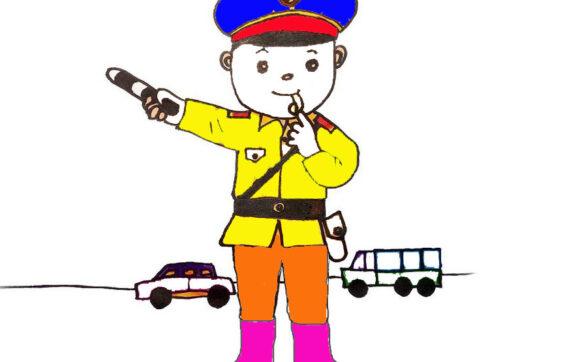 tranh tô màu chú cảnh sát giao thông