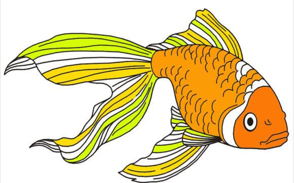 Tranh tô màu con cá vàng
