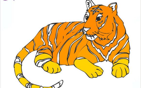 Tranh tô màu con hổ