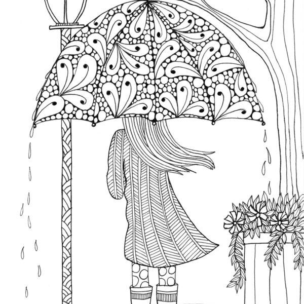 Tranh tô màu dành cho người lớn hình cô gái che ô đứng dưới mưa