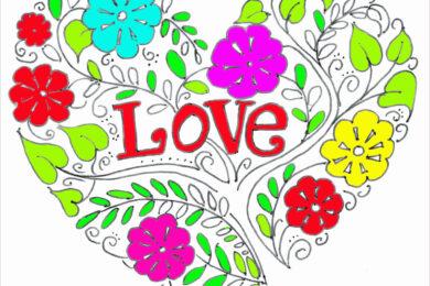 Tranh tô màu hình trái tim được xếp từ những cành hoa