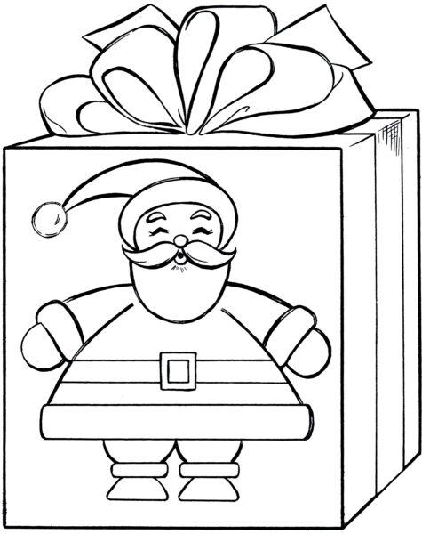 Tranh tô màu hộp quà có in hình ông già Noel