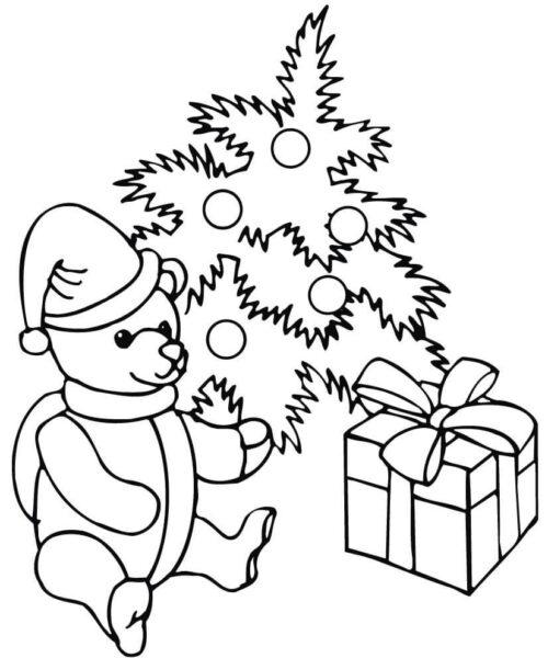 Tranh tô màu hộp quà, gấu bông và cây thông Noel